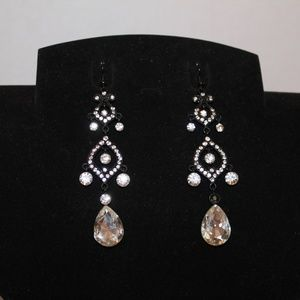Beautiful Rhinestone and Black Earrings